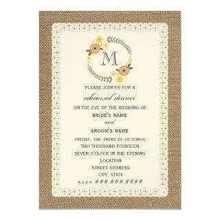 Burlap & Lace Inspired Fall Rehearsal Dinner Invitations