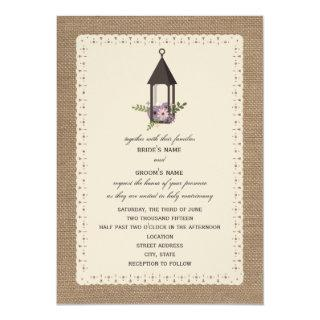 Burlap & Lace Inspired Lavender Floral Lantern Invitations