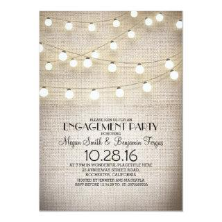 burlap lace string lights rustic engagement party invitation