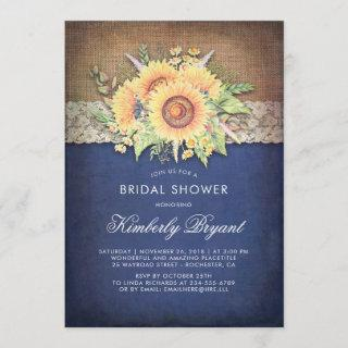 Burlap Lace Sunflower Navy Rustic Bridal Shower Invitations