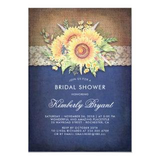Burlap Lace Sunflower Navy Rustic Bridal Shower Invitation