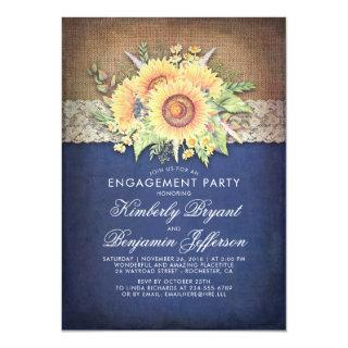Burlap Lace Sunflower Navy Rustic Engagement Party Invitation