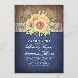 Burlap Lace Sunflower Navy Rustic Rehearsal Dinner Invitation