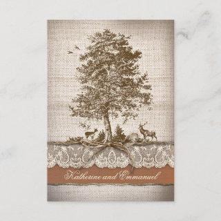 burlap lace tree rustic country wedding RSVP cards