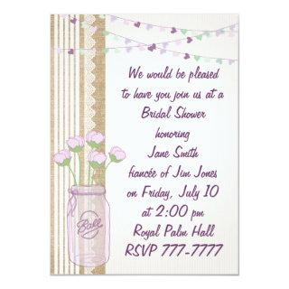 Burlap Lilac Purple Mason Jar Bridal Shower Invita Invitation