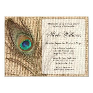 Burlap Peacock Feather Bridal Shower Invitations