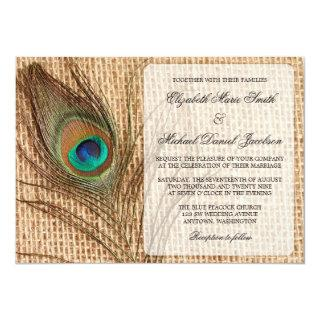 Burlap Peacock Feather Wedding Invitations