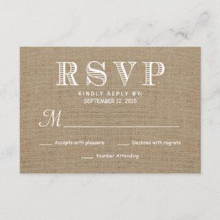 Burlap RSVP Rustic Typography Wedding Reply