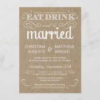 Burlap Rustic Country Wedding Invitations