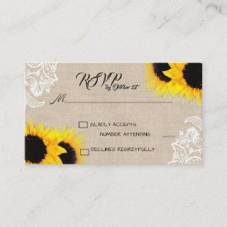 Burlap with lace and sunflower RSVP Enclosure Card
