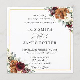 Burnt Orange Burgundy Ivory Floral Wedding Square Invitations