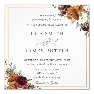 Burnt Orange Burgundy Ivory Floral Wedding Square Invitation