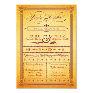 Burnt Orange Burgundy Poster Style Wedding Invite
