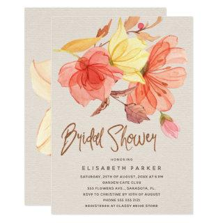 Burnt orange fall watercolor floral bridal shower invitation