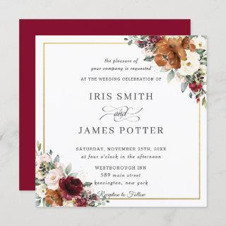 Burnt Orange Ivory Burgundy Floral Wedding Square Invitations