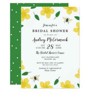 Buttercups & Bees - Floral Bridal Shower Invitations