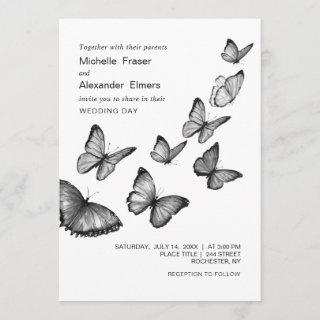 Butterflies. Black and white stylish Wedding Invitations