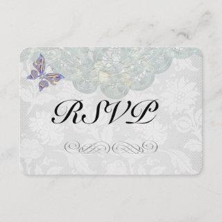 """Butterfly and Lace Wedding RSVP Matte 3.5"""" x 5"""""""