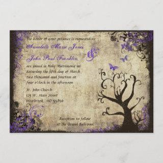 Butterfly and Tree Vintage Wedding Invitations