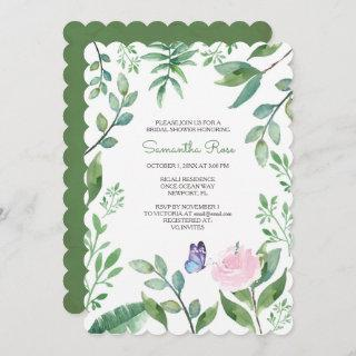 Butterfly BRIDAL Shower Invite, Pink & Blue Invitations