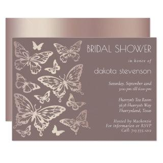 Butterfly Chic Bridal Shower   Copper Rose Gold Invitations