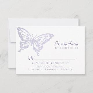 Butterfly Chic | Dusty Lavender Purple Violet Meal RSVP Card