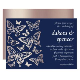Butterfly Chic Wedding   Rose Gold and Navy Blue Invitation