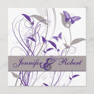 Butterfly in Lilac and Purple Anniversary Invitation