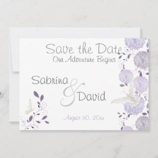 Butterfly Lilac Plum Chrysanthemum  Save the Date
