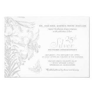 Butterfly Lilies Silver 25th Wedding Anniversary Invitations