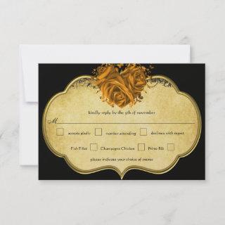 Butterfly Metallic Gold Heart Gold and Black RSVP Card