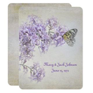 Butterfly on Lilacs Vow Renewal Invitation