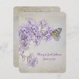 Butterfly on Lilacs Vow Renewal Invitations