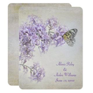 Butterfly on Lilacs wedding invite