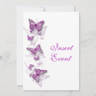 Butterfly theme pink white Invitations