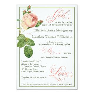 Cabbage Rose God is Love Wedding Invitations