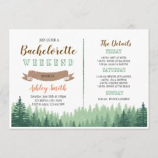 Cabin woods bachelorette with Itinerary Invitations