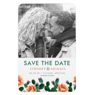 Cactus and Flowers Save the Date Magnet