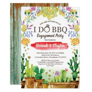 Cactus I do BBQ party Invitations - rustic wood