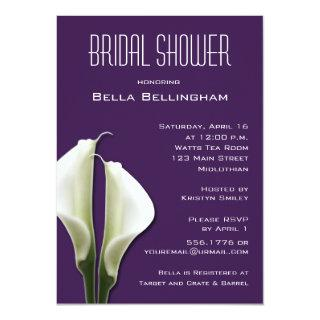 Calla Lillies Bridal Shower Invitations on Purple