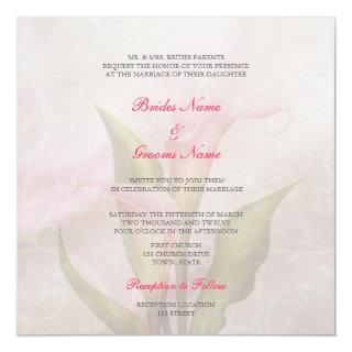Calla Lily Pink 2 Wedding Invitations