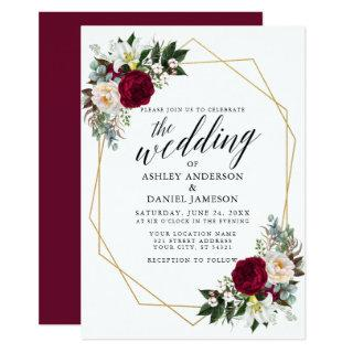 Calligraphy Burgundy Floral Greenery Gold Wedding Invitations