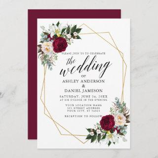Calligraphy Burgundy Floral Greenery Gold Wedding Invitation