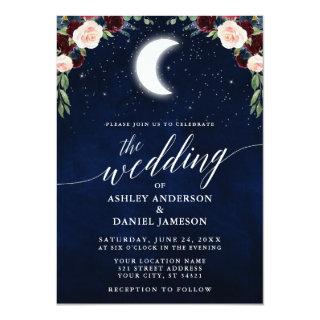 Calligraphy Celestial Moon Stars Floral Wedding Invitation