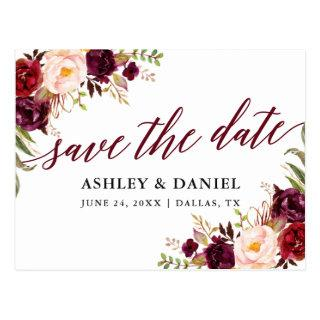 Calligraphy Floral Burgundy Save The Date Postcard