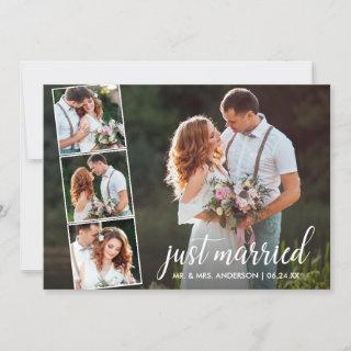 Calligraphy Just Married 4 Photo Announcement