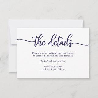 Calligraphy Navy Blue White Wedding Details Card