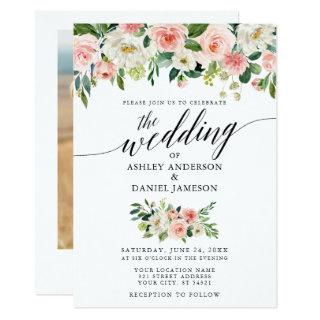 Calligraphy Pink Blush Floral Photo Wedding Invitation