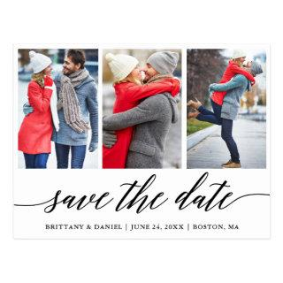 Calligraphy Save The Date Engagement 3 Photo Postcard