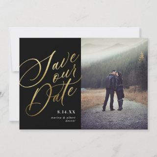 Calligraphy Script | Black Gold | Photo Save The Date